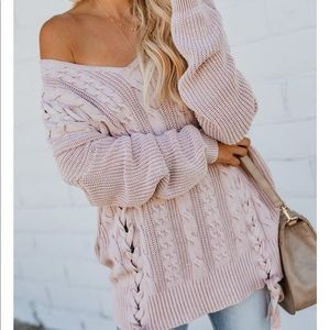 Sweaters - NWT Lace Up Braided Chunky Cable Knit Sweater